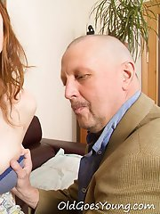 Alina sure likes the feel of this old goes young guy's fat dick as he slams her from behind.